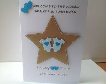 Handmade personalised twin boy cards-  personalised with names and date of birth.