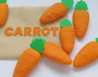 Felt Carrot, Felt Food, Pretend Play, Garden Vegetable, Carrots, Pretend kitchen play, Carrot - Plush Food, waldorf inspired,  Play food