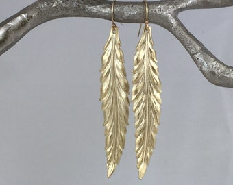 Long Gold Leaf Earrings,  Gold Drop Earrings, Gold Feather Earrings, Earrings, Simple Gold Earrings, Drop Earrings