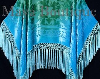 Jade Turquoise Burnout Velvet Poncho Shawl Top Ombree Hand Dye Maya Matazaro