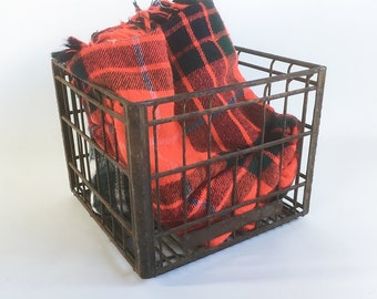 """1962 Vans Cry Dairy Milk Crate - Metal Wire Crate, Farmhouse Chic, Industrial Chic """"Nicely Distressed"""""""