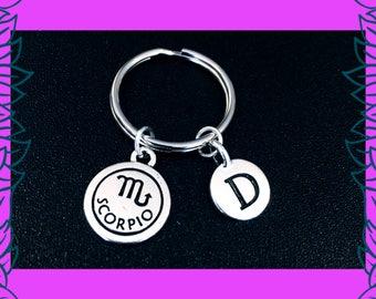Scorpio keyring, October November birthday gift idea, zodiac horoscope astrology key chain, personalised initial letter charm key ring, UK