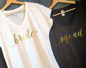 Customized Bridal Party Shirt Set, Bride shirt, Bridesmaid, Maid of Honor, Bachelorette party, Wedding day, Wedding package, Bridal shower