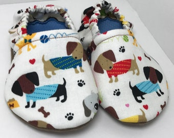 Puppy Shoes - Dachshund Moccasins - Weenie Dog Booties - Puppy Slippers - Dog Booties - Cute Shoes - Toddler Moccasins - Baby Shoes