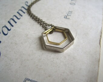 Double Hexagon charm necklace - geometric mixed metals on brass - modern jewellery