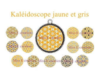 Orange and gray Kaleidoscope print digital image round cabochon 25mm and 20mm and 18mm