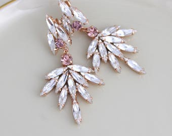 Rose gold earrings, Bridal earrings, Bridal jewelry, Statement Wedding earrings, Swarovski crystal earrings, Blush Chandelier earrings