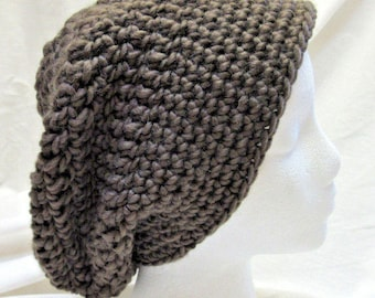 Brown Taupe Slouchy Wool Hat, Handmade Crochet, Dreadlocks, Oversize, Cap, Organic, Mans, Womans, Beanie, Chunky, Retro, Big Hair, Spring