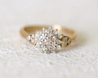 20% SALE! Vintage 9k yellow gold. 0.25 Carat diamond engagement wedding gold ring /boho bohemian gypsy ring.  size 5.5