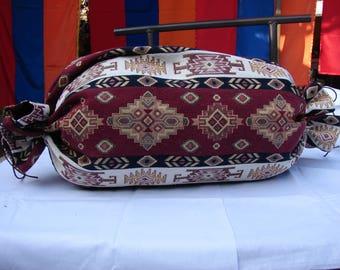 Round Bolster Pillow Cover Ethnic Traditional Patterned, Sofa Carpet Cushion, Armenian Mutaka