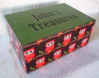 Owl Keepsake Box - Memory Box -  Personalized Keepsake Box - Treasure Box - Gift