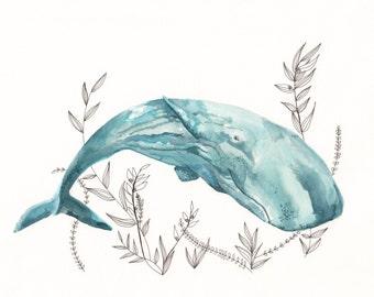 whale watercolor, sperm whale art, nautical nursery art, nautical art, whale painting
