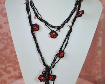 Red Flower black crochet necklace with handmade gemstones gift with love mom sweetheart neck precious girlfriend for elegant evening