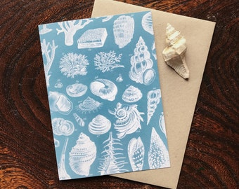 Vintage Natural History Seashell Art Print, Nautical Seaside Beach Wedding Card, Natural Science Beach Decor, Luxury Greeting Card.