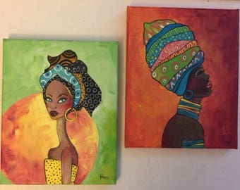 Two original acrylic painting / pretty African women painting / acrylic painting