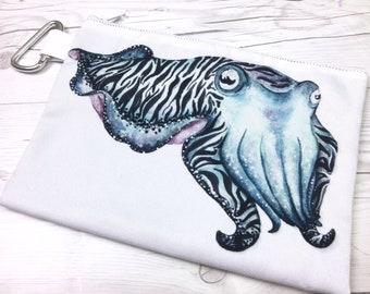 Cuttlefish Canvas Zipper Pouch, Cuttlefish, Squid, Octopus, Canvas Pouch, Canvas Bag, Cosmetic Bag, Travel Pouch, Art Pouch, Art Supplies