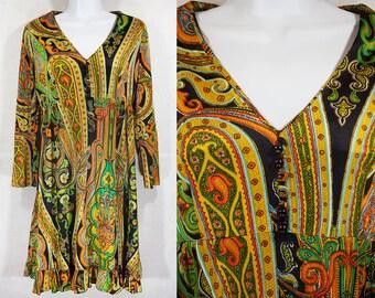 Vintage 60's Paisley Pattern Dress S/M