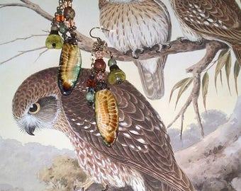 Arianne~Owl Earrings~Owl Jewellery~Feather Earrings~Boho Earrings~Tribal Jewellery~Australian Seller~Ceramic Earrings~Gypsy Earrings~Wiccan