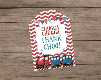Chugga Chugga Thank Choo Thank You Tags- No Personalization- Instant Download