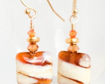 Brown Glass Earrings - Amber Lampwork Earrings - Amber Cream Earrings - Brown Gold Earrings - Gold Amber Earrings - Brown Cream Earrings