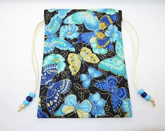 "Blue Butterflies Silk Lined Tarot Card Pouch, Tarot Card Bag, Handmade 5"" x 7"" tall, 5 x 7"
