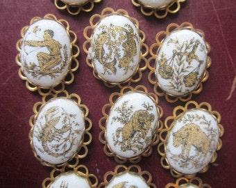 Rare Vintage Sugar Bead Astrological Zodiac Cabochons In Settings