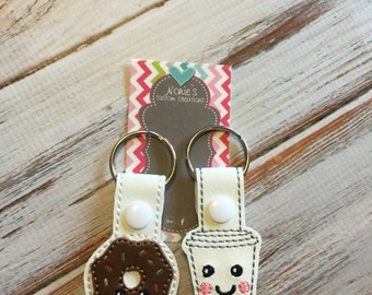 Coffee and Donut Keychain - Best Friends Keychain - BFF  Keychain - Coffee Keychain - Donut Keychain - Coffee and Donuts - Doughnut Keychain