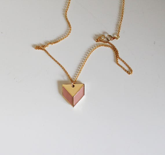 Enameled, gold plated, pendant chain necklace
