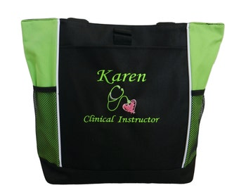 Tote Bag Personalized Nurse Nursing Midwife Doula ER RN Student LPN Medic Clinical Instructor Charge Heart Stethoscope