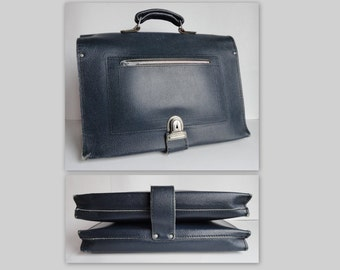 Dark Blue 60s School Leather Bag // Two Bags In One