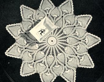 Pineapple Crochet Doily Pattern, Vintage 1940's