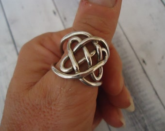 Heavy Unisex Vintage 925 Sterling Silver Celtic Design Band Ring, Size 13