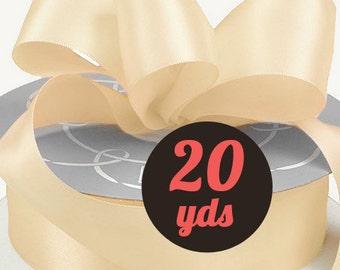 "Satin Ivory Cream Ribbon - 7/8"" wide at 20 yards"
