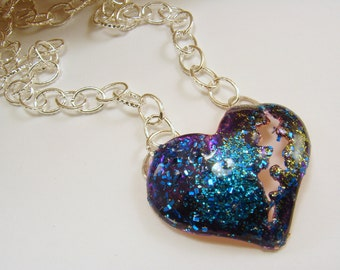 Shimmering Blue and Purple Broken Heart Pendant with Silver Chain Necklace