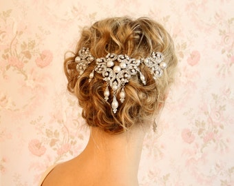 crystal veil wedding veil hair accessories Bridal hair accessories wedding accessories veil alternative Deco Divine Marlene hair clip hp5058
