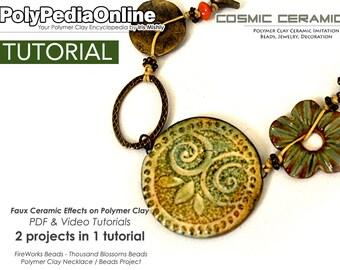 Polymer Clay Tutorial, Polymer Clay Jewelry, Necklace Tutorial, PDF Tutorial, Polymer Clay Beads, Jewelry Tutorial, Polymer Ceramic, Earring