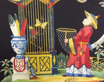 Black Chinoiserie - East of the Moon - Bold Blue, Red, Yellow and Green - Upholstery Fabric By The Yard