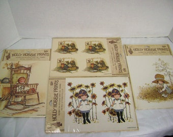 Vintage Holly Hobbie Prints, Supply Decoupage, Craft, Framing, Decal, 4 packages, Golds, Browns, Yellows, Old Fashion Girl