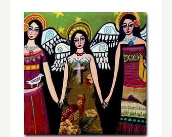 50% SALE- Angel Art Tile Ceramic Coaster Mexican Folk Art Print of painting by Heather Galler Virgin of Guadalupe