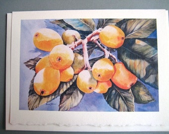 Japanese Plums, Loquats  Plumbs  Note Card 5 x 7 blank Tropical Fruit watercolor print  Yellow