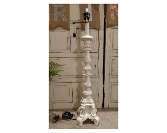 Beautiful Ornate Cream Candlestick Lamp