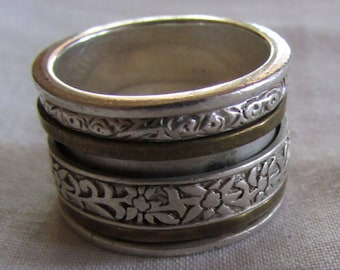 Wide Sterling Silver and Brass Spinner Ring Size 8 1/2