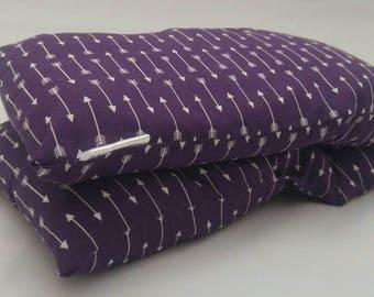 Microwave heating pad. WASHABLE COVER Barley/Flax Heat Bag, like corn rice wheat. Plum White Arrows by UptonElm