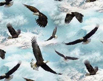 "North American Wildlife ""Eagles Flying""-Elizabeth Studios-BTY"