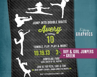 JUMP Tumble Flip. Chalkboard Trampoline Birthday Party Invite for Big Kids by Tipsy Graphics. Jumping Bouncing
