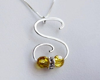 Handmade Letter S  Shaped Birthstone Pendant - Initial Monogram Calligraphy Necklace by I Heart This