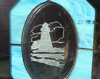Lighthouse Etched Bevel in Stained Glass Panel