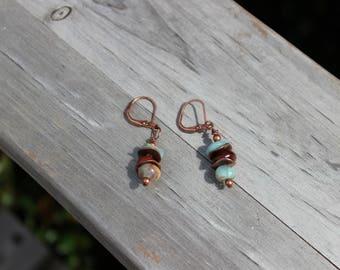 Impression Jasper Antique Copper Leverback Earrings, Gemstone Earrings, Dangle Drop Earrings, Boho Earrings, Hippie Earrings