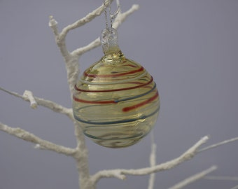 Glass Bauble with Rings Decoration - Christmas Decoration - Holiday Ornament - Striped Bauble