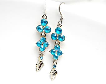 Turquoise Blue Vintage Rhinestone Earrings Turquoise Rhinestone Earrings Long Rhinestone Earrings Festival Earrings Silver Leaves